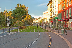 The long tram line Royalty Free Stock Photos