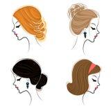 Long tresse les cheveux bruns cr?atifs, d'isolement sur le fond blanc Coiffures d'une femme Dessin anim? illustration libre de droits