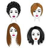 Long tresse les cheveux bruns cr?atifs, d'isolement sur le fond blanc Coiffures d'une femme Dessin anim? illustration stock
