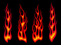 Long tribal flames. Set of long tribal fire flames for tattoo drawing Royalty Free Stock Images