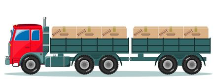 Long truck with cargo goes to the warehouse Royalty Free Stock Photo