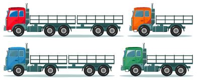 Long truck with cargo goes to the warehouse Royalty Free Stock Images