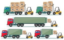 Long truck with cargo goes to the warehouse Stock Photo
