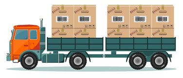 Long truck with cargo goes to the warehouse Stock Photography