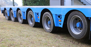 Long truck trailer for exceptional transport with many sturdy ti Stock Image
