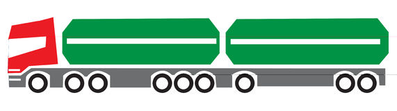 Long truck vector. This is a side view of a big truck illustration. Perfect for applying in annual repports Stock Photo
