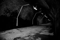Long tunnel. Of an old railway viaduct taken in black and white Royalty Free Stock Photography