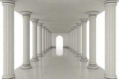 Long tunnel de couloir entre les colonnes classiques rendu 3d Photographie stock libre de droits