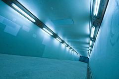 Long tunnel with lamps Royalty Free Stock Image