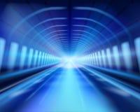 Long illuminated tunnel. Vector illustration. Royalty Free Stock Photo