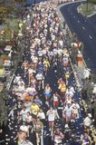 Long view from above of Runners in marathon, Stock Image