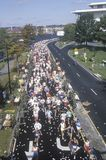 Long view from above of Runners in marathon, Royalty Free Stock Photography