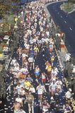 Long view from above of Runners in marathon, Washington, D.C. Stock Image