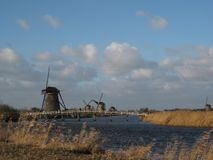 A long view along the Kinderdijk near Rotterdam, The Netherlands stock images