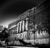 Long View Creepy Abandoned Haunted Hospital stock images