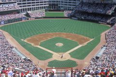 Long view of diamond and full bleachers during a professional Baseball game, The Ballpark, Arlington, Texas Stock Photos