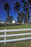 Long view of a Dutch Barn on Simmons Farm, Route 103, NY stock image