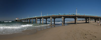 Long view of nice California pier. Manhattan beach California Panoramic with the pier Royalty Free Stock Photography