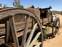Long View of wooden western wagon Royalty Free Stock Images