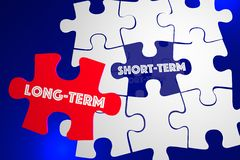 Long Vs Short Term Better Best Solution Puzzle Piece 3d Illustra. Tion Royalty Free Stock Photo