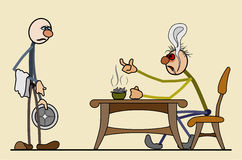 Long wait in the restaurant. In restaurant sits angry customer. long waits. the waiter is sad. spread out in layers. For printing, advertising, websites stock illustration