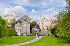 Long walk alley to Windsor castle in spring, London suburbs, UK royalty free stock image