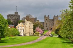Long walk alley to Windsor castle in spring, London suburbs, UK stock image