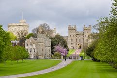 Long walk alley to Windsor castle in spring, London suburbs, UK stock photos