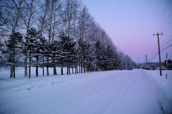 Long walk down. Lonely walk down the road, Abashiri, Hokkaido Royalty Free Stock Image