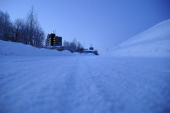 Long walk down. Lonely walk down the road, Abashiri, Hokkaido Royalty Free Stock Photos