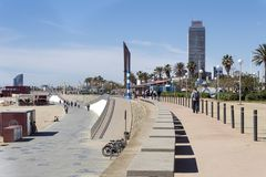 Walk in Barceloneta. stock photos
