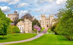 Long walk to Windsor castle in spring, London suburbs, UK royalty free stock images