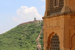 The long wall surrounding Amer Fort. One of six Hill Forts of Ra
