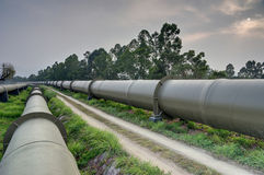 Long water pipes. Long huge water pipes in Hong Kong Stock Images