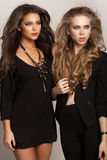 Long Wavy Hair. Two beautiful women with long hair. Wavy Hair. Hairstyle. Not isolated on background Stock Photo