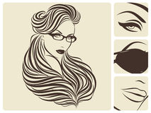 Long wavy hairstyle. Vector illustration. Royalty Free Stock Photography