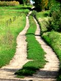 Long way. Path in a summer countryside Royalty Free Stock Photography