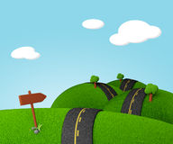 Long way ahead. Cartoony illustration of a long road passing through green fields. A signpost shows the way Royalty Free Stock Photography