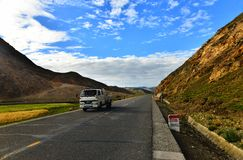 Long way ahead with high mountain in front Royalty Free Stock Photo