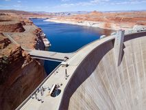 Long Way Down. Glen Canyon Dam over the Colorado River in northern Arizona on a sunny Spring day royalty free stock photo