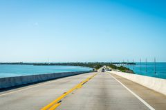 A long way down the road of The Keys, Florida stock image