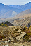 Long way home. Very fantastic view on the way to muktinath Royalty Free Stock Images