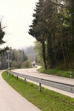 A long way. Motorway in rural bavaria with lots of trees Stock Photo