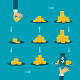 Long way to financial success vector concept in flat style.  Royalty Free Stock Images