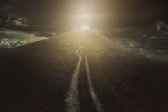Long way to salvation. Through the valley of shadows. Christian faith Royalty Free Stock Photo