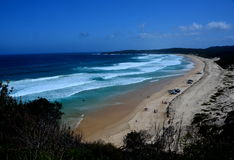 Long 4WD beach at Seal Rocks from Sugarloaf Points Stock Image
