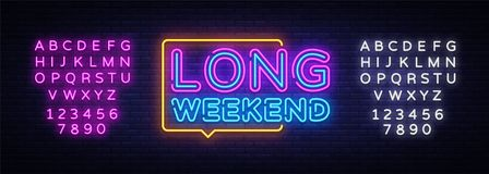 Long Weekend neon sign vector. Weekend Design template neon sign, light banner, neon signboard, nightly bright stock photo