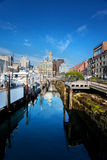 Long Wharf Boston. Boats tied up at Long Wharf, Boston, on a summer morning stock images