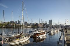 Long Wharf and Customhouse Block with sailboats and yachts in in Boston Stock Photography