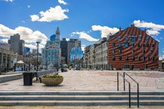 Long Wharf Landing and Custom House and Financial District Boston royalty free stock photography